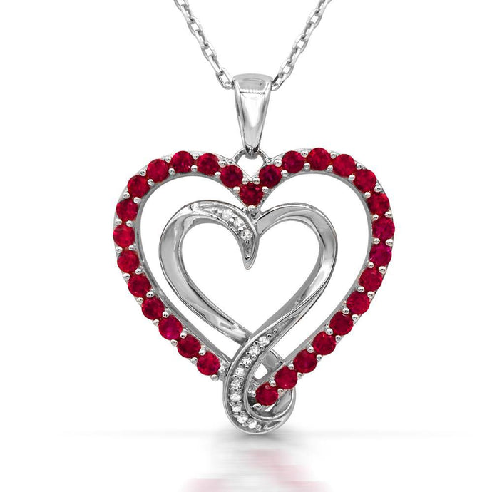 Double heart Created Ruby with Diamond accent Pendant - For The Love of Jewelry