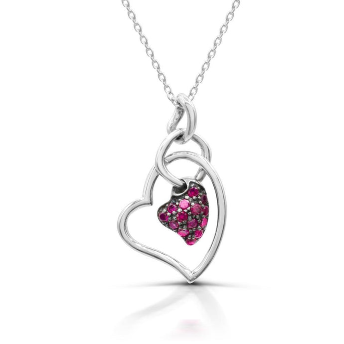 Round Clustered Lab Created Ruby Heart Pendant in Sterling silver - For The Love of Jewelry