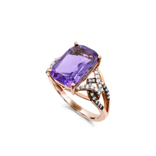 Load image into Gallery viewer, Amethyst with 1/4 TDW Brown and White Diamond ring in 10K Rose Gold
