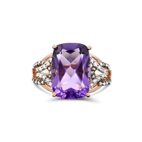 Amethyst with 1/4 TDW Brown and White Diamond ring in 10K Rose Gold - For The Love of Jewelry