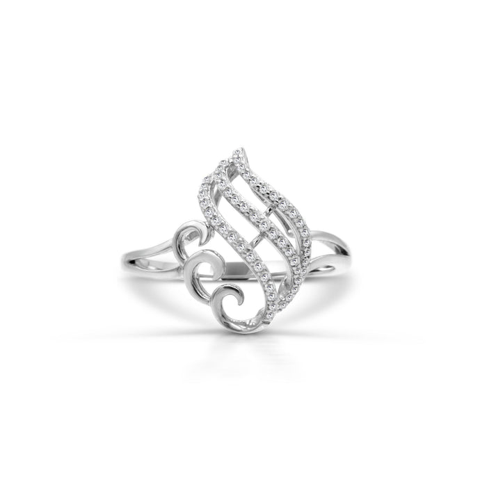 Diamond Wave Filigree Ring in Sterling Silver - For The Love of Jewelry