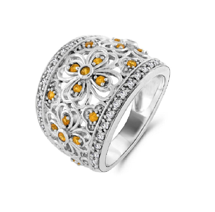 Yellow Sapphire and Diamond Ring in Sterling Silver - For The Love of Jewelry