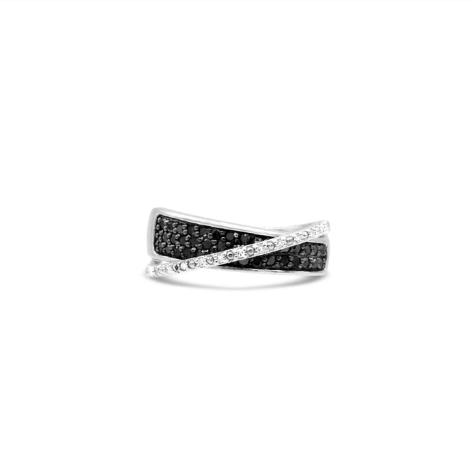 Black and White Diamond Ring in Sterling Silver - For The Love of Jewelry