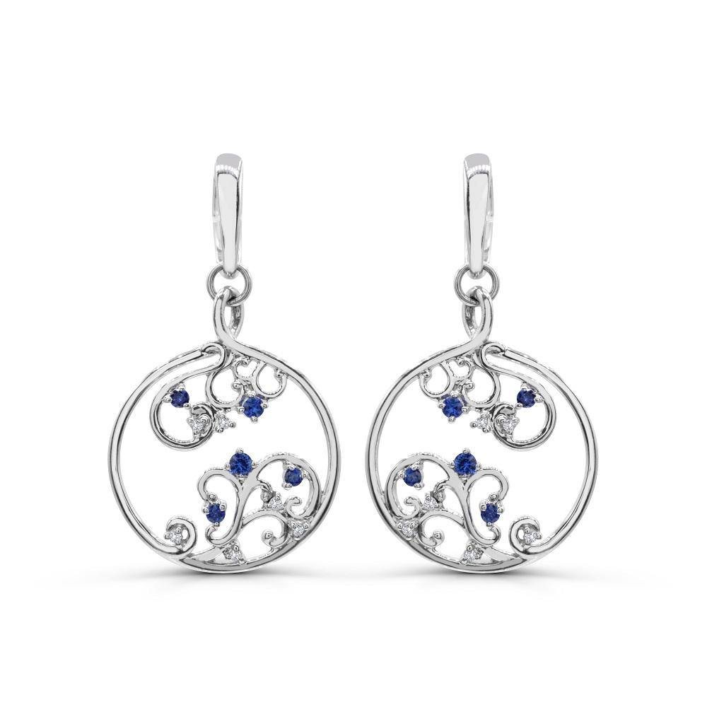 Round Blue Sapphires and Diamond Cut Out Earrings in 14K White Gold - For The Love of Jewelry