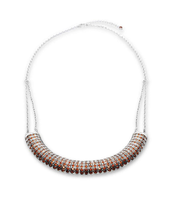 Garnet Bar Necklace in Sterling Silver - For The Love of Jewelry