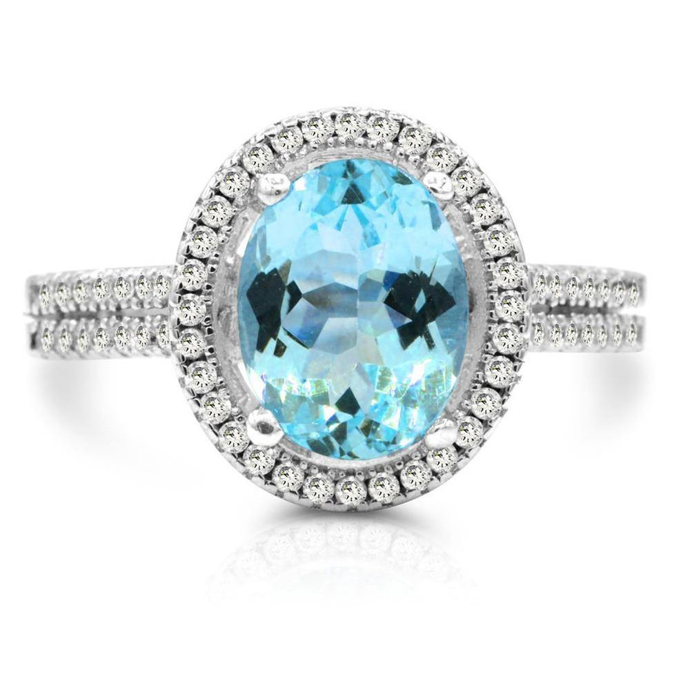 Oval Swiss Blue Topaz and White Topaz Halo Ring in Sterling Silver - For The Love of Jewelry