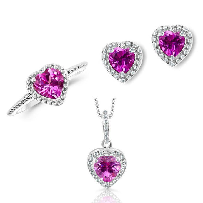 Lab Created Pink Sapphire and Diamond Accent 3-piece Heart Set - For The Love of Jewelry