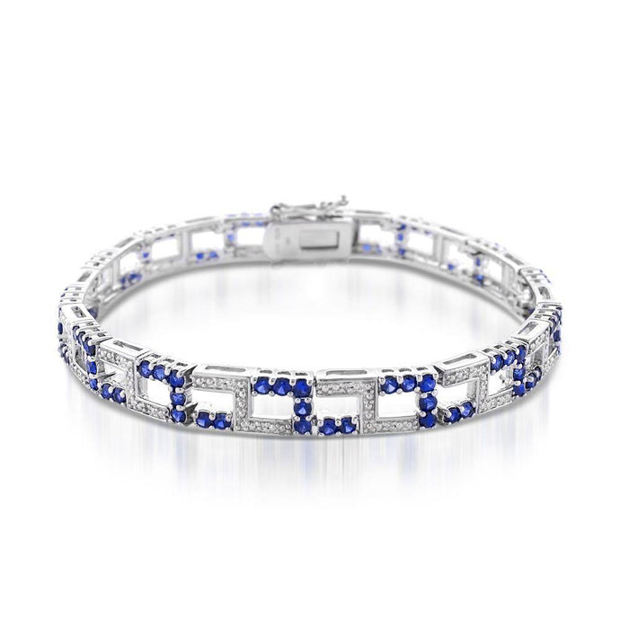 Natural Blue Sapphire and Diamond Bracelet in Sterling silver - For The Love of Jewelry