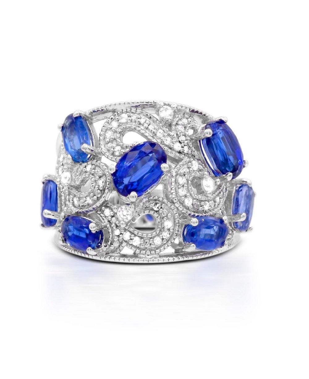 Kyanite, White Zircon and Diamond Ring in Sterling Silver - For The Love of Jewelry