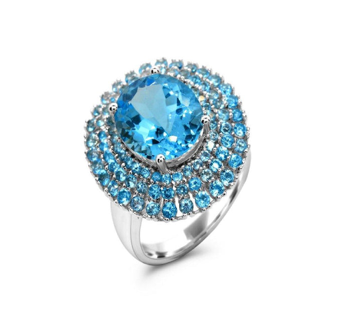 Oval Swiss Blue Topaz with Sky Blue Topaz Ring in Sterling Silver - For The Love of Jewelry