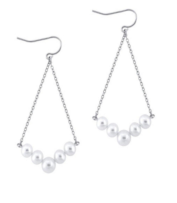 Freshwater Culture Pearl Dangling Earrings in Sterling Silver - For The Love of Jewelry