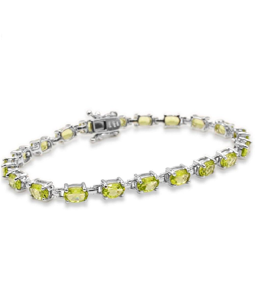 Oval Peridot Tennis Bracelet in Sterling Silver - For The Love of Jewelry