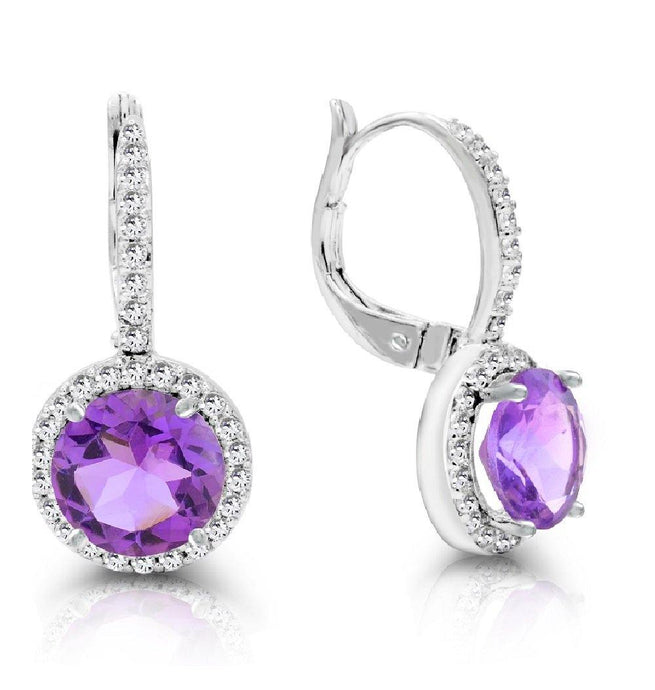Round Amethyst and White Topaz Dangle Earrings in Sterling Silver - For The Love of Jewelry