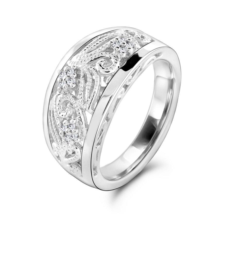 Diamond Swirl Ring in Sterling Silver - For The Love of Jewelry