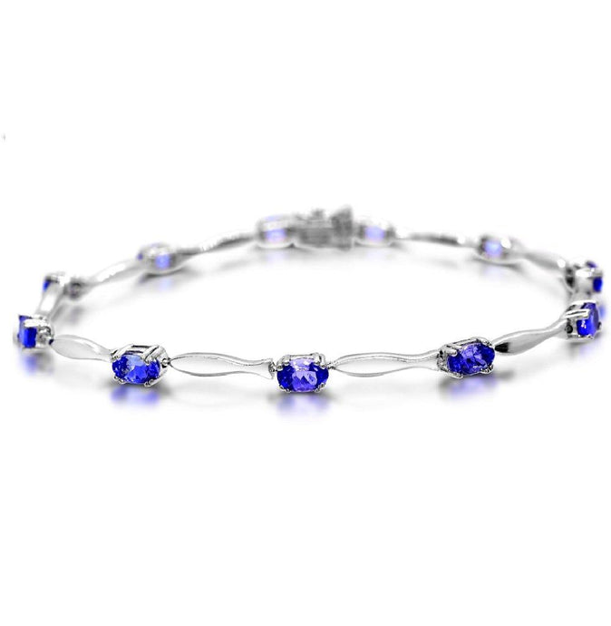 Oval Tanzanite Tennis Bracelet in Sterling Silver - For The Love of Jewelry