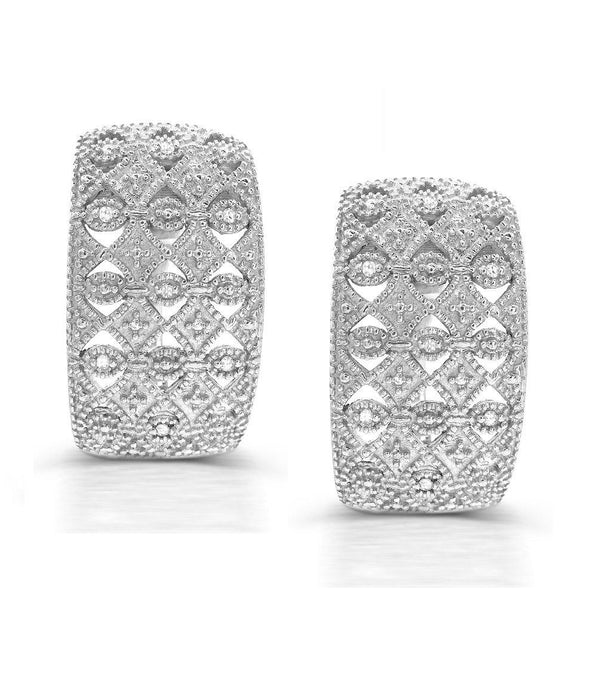 Diamond Snap Back Earrings in Sterling Silver - For The Love of Jewelry