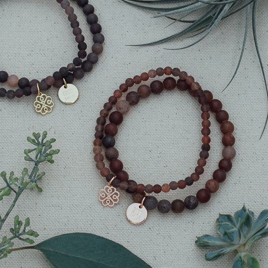 Stackem Up Bracelets Rose Gold & Purple Aventurine