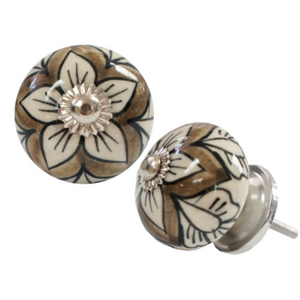 Floral Sketch Knob - Grey/Tan/White