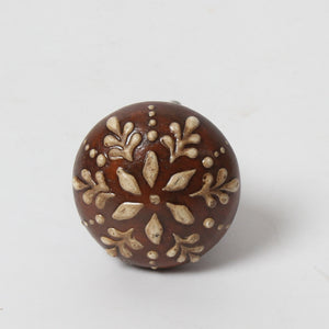 Round Ceramic Knob - Brown & Cream