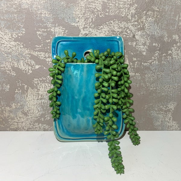 Terracotta Wall Planter - Turquoise