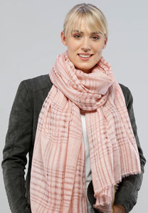 Open Weaves Plaid Scarf - Salmon