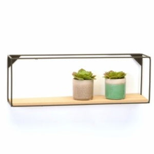 Rectangular Black Wire & Wood Shelf - Large