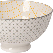 Load image into Gallery viewer, Stamped Bowl - Grey Dots/Yellow