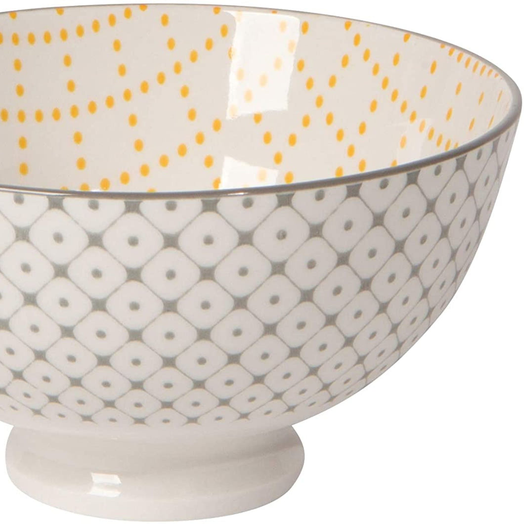 Stamped Bowl - Grey Dots/Yellow