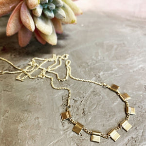 Multi Square Drop Necklace - Gold