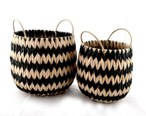 Natural & Black Basket Set
