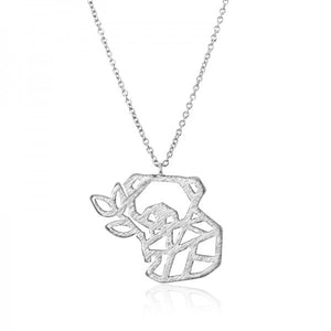 Origami Panda Necklace - Silver