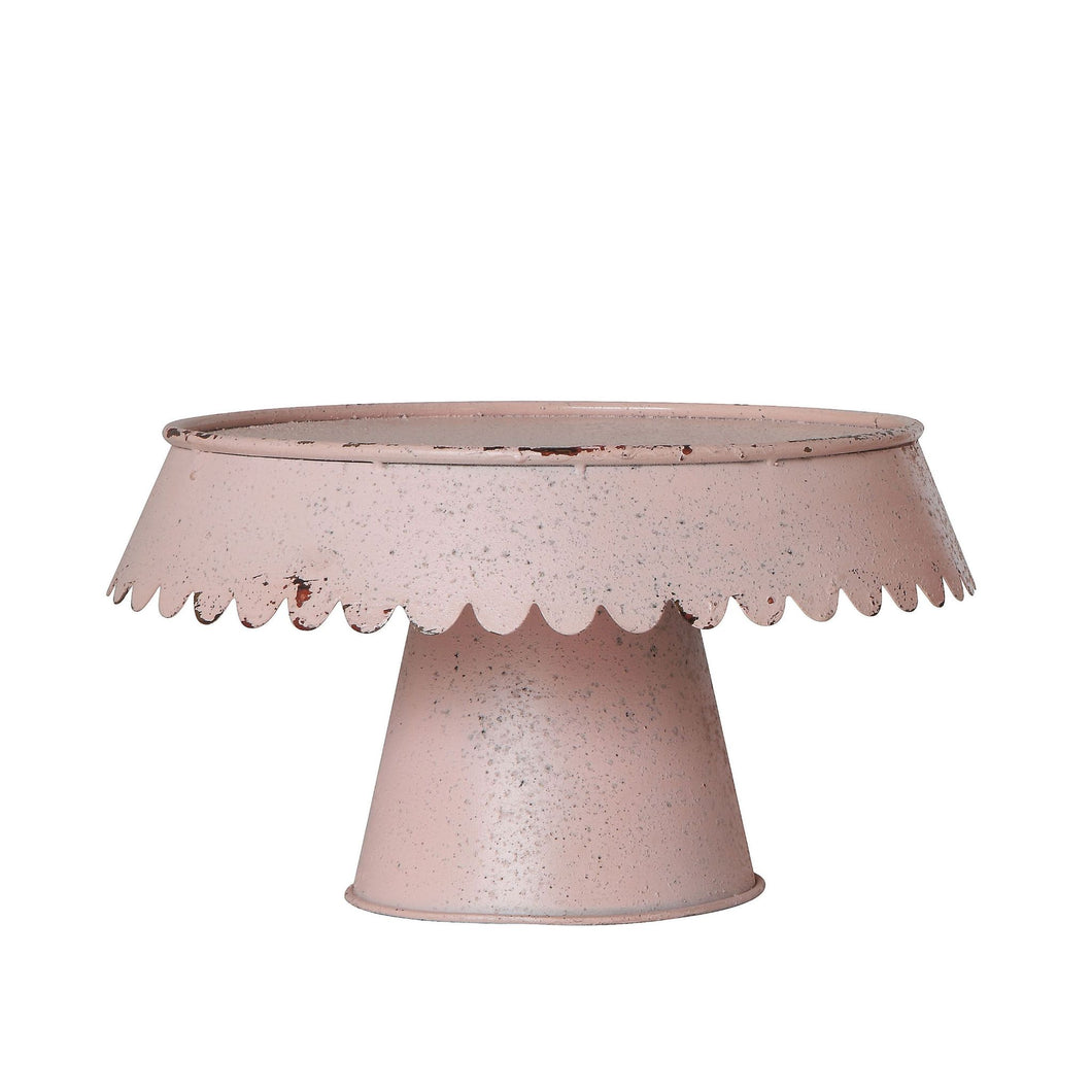 Decorative Metal Pedestal - Distressed Pink