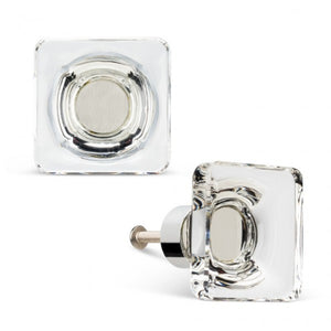 Square Flat Clear Knob Small
