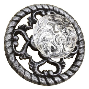 Metalic Cast Iron & Glass Drawer Pull