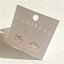 Load image into Gallery viewer, Fixie Bicycle Stud Earrings - Silver