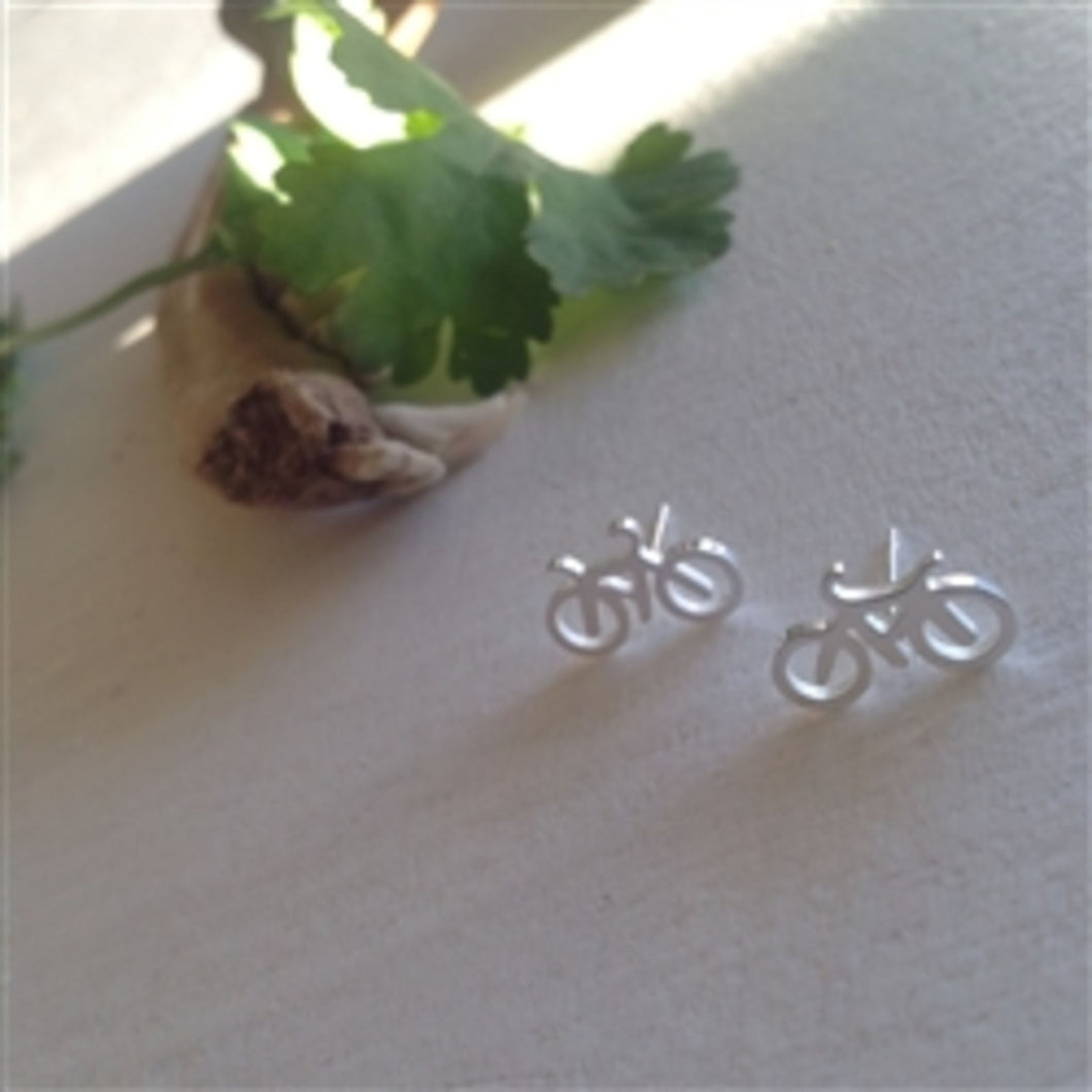 Fixie Bicycle Stud Earrings - Silver