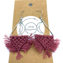 Load image into Gallery viewer, Triangle Macrame Earrings  - Rose