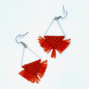 Triangle Macrame Earrings  - Orange