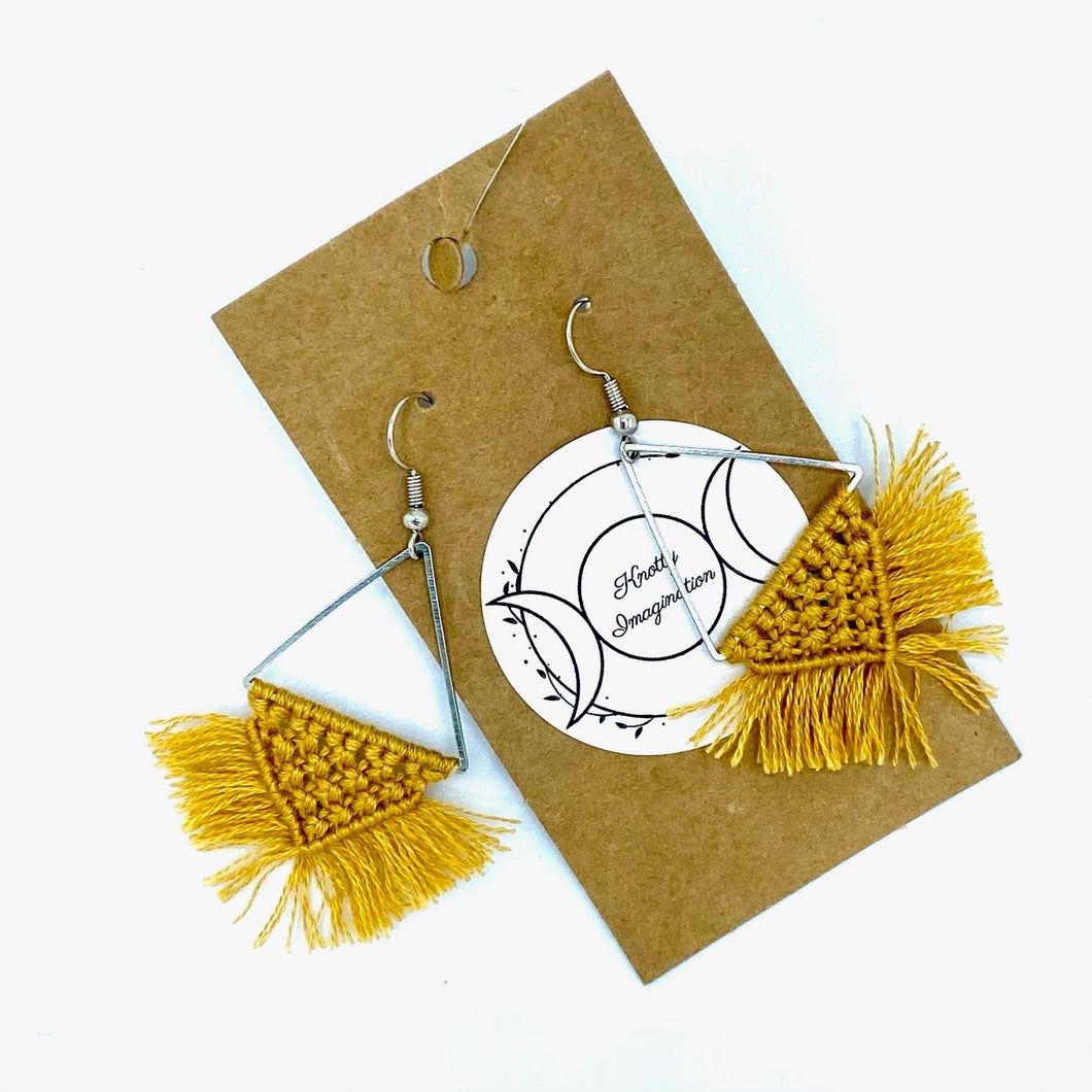 Triangle Macrame Earrings  - Mustard