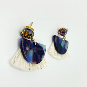 Valerie Mini Fringe Earrings - Royal Blue
