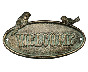 Green Welcome Sign - Perched Birds