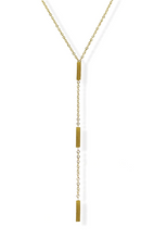 Load image into Gallery viewer, Triple Rectangle Y Necklace - Gold