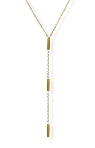 Triple Rectangle Y Necklace - Gold