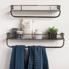 Load image into Gallery viewer, Metal Wall Shelf with Towel Bar