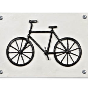 Rectangular Bicycle Plaque - Antique White