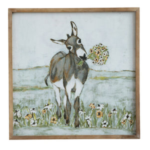 Framed Canvas Donkey Picture