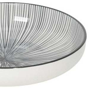 Stamped Shallow Bowl - Etched Lines Black