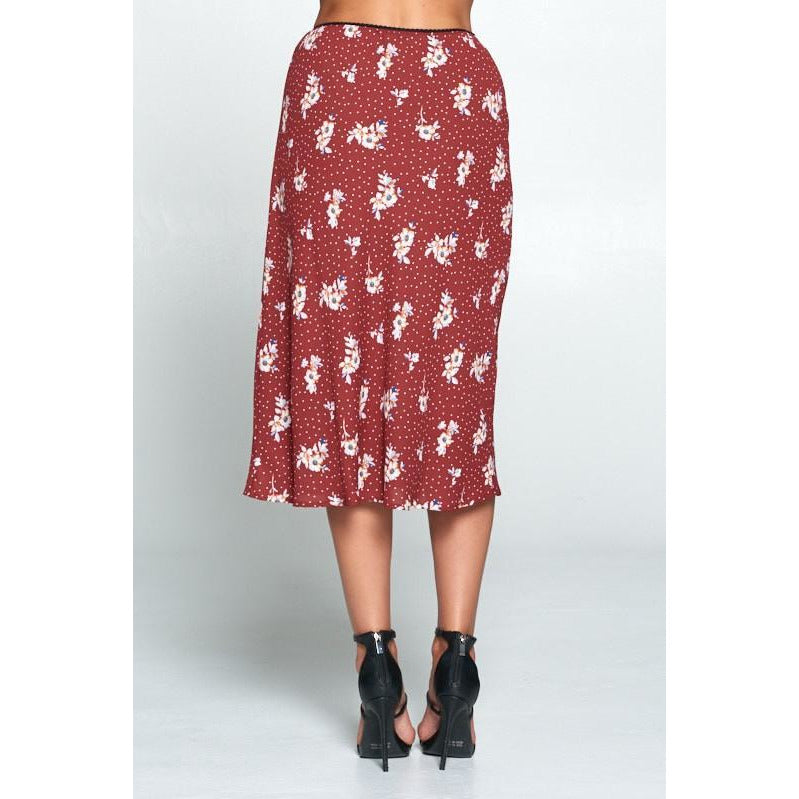 Floral and Polka Dot Midi Skirt - Xoomkart