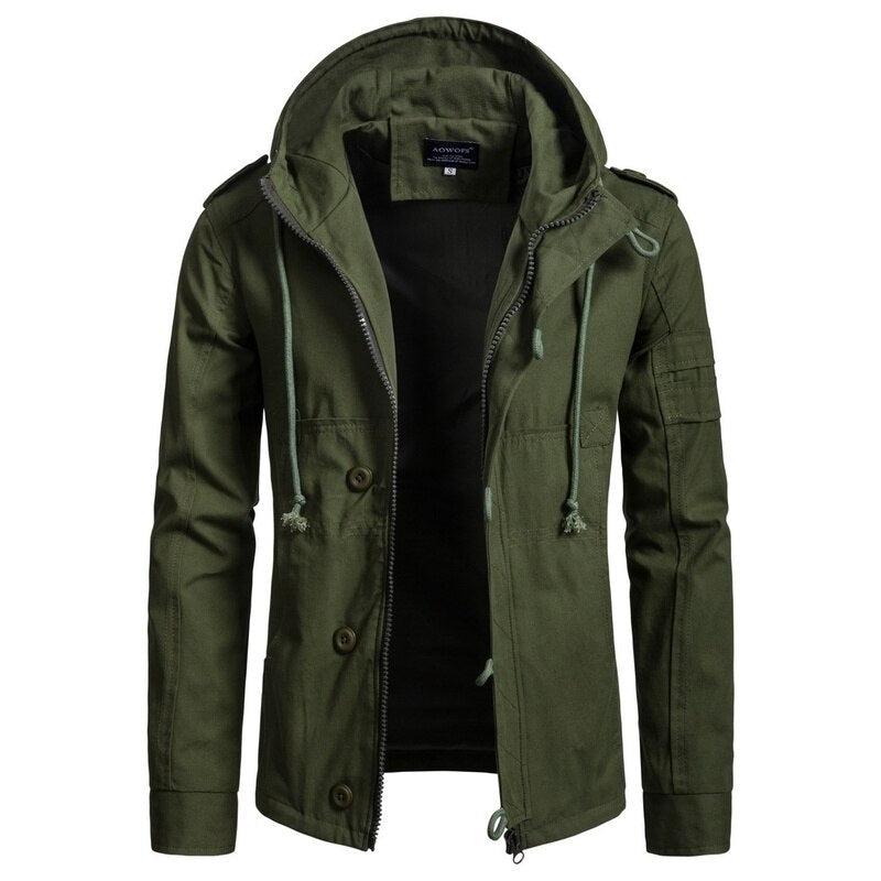 Zogaa Men's Jackets Army Green Military Jacket Hoodie