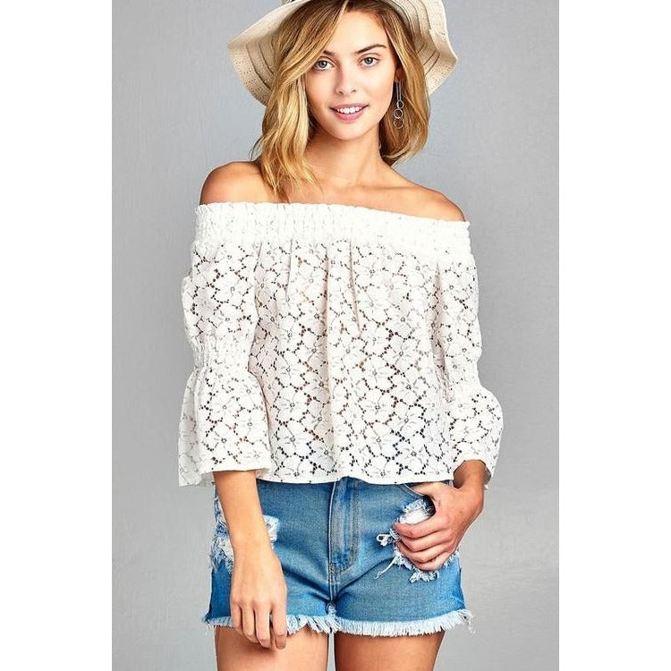 Women's 3/4 Three Quarter Long Sleeve Off Shoulder - Xoomkart